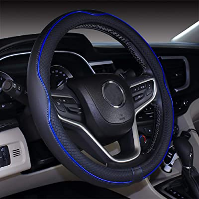 DuoDuoBling Genuine Leather Steering Wheel Cover 15 Inch for Men 2020 New Automotive Cute Jeep Car Interior Accessories (Dark Blue): Automotive