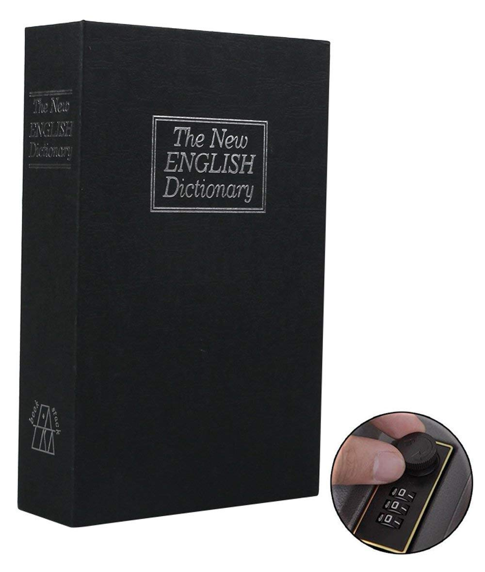 Book Safe with Combination Lock, Dictionary Diversion Book Safe, Portable Safe Box, Great for Storing Money, Jewelry, Gun and Passport