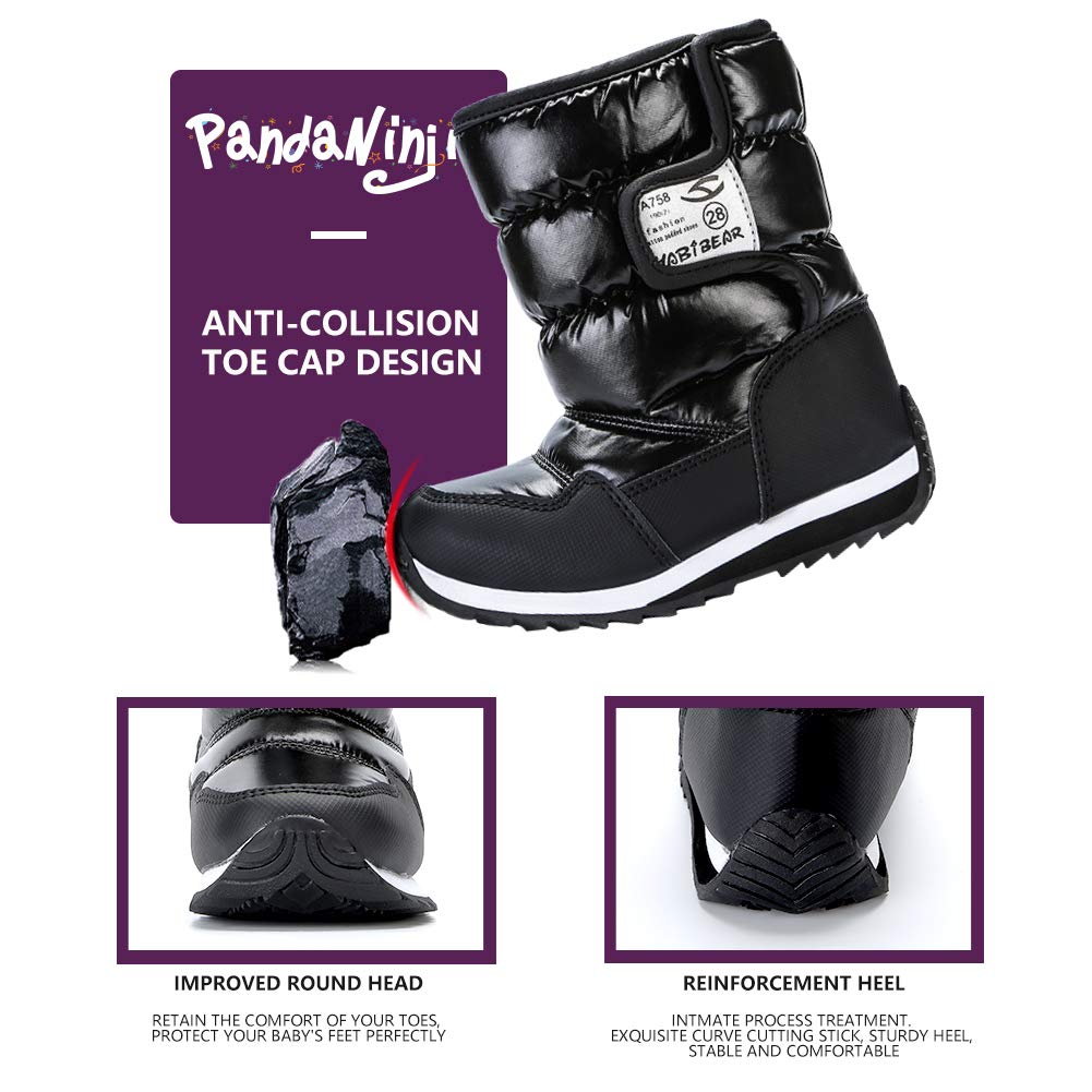 VECJUNIA Boys Girls Kids Winter Snow Boots Toddler//Little//Big Kids Anti-Slip Faux Fur Lined Cold Weather Shoes
