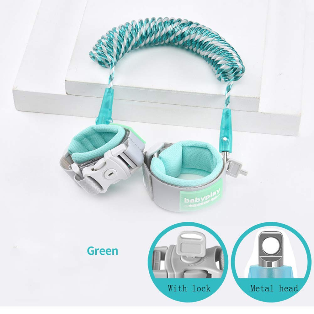 MQC Anti-Lost Wrist Strap Children Walking with Baby Reins with Leash Children Travel Care 360 ° Rotation,Green,2M