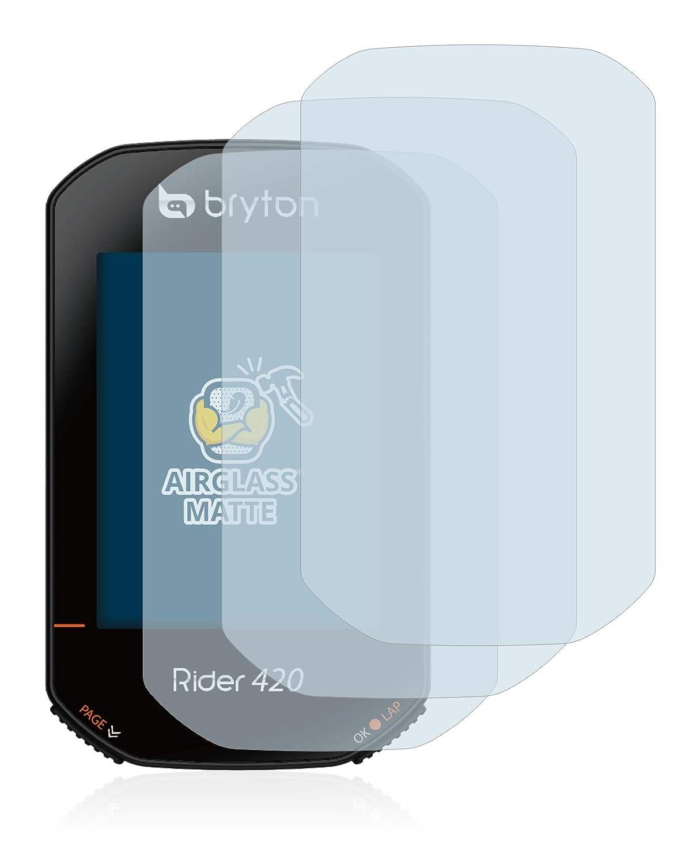 AirGlass 3 Unidades BROTECT Protector Pantalla Cristal Mate Compatible con Bryton Rider 420 Protector Pantalla Anti-Reflejos Vidrio