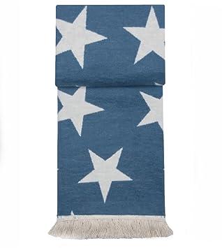 Kuscheldecke Wohndecke Stars Sterne Blau Mit Fransen 150 X 200