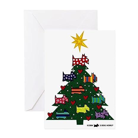 Amazon cafepress scottish terrier christmas tree greeting cafepress scottish terrier christmas tree greeting cards pa greeting card 20 m4hsunfo