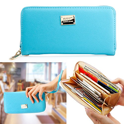 Price comparison product image Oct17 Fashion Lady Full Zipper Faux Leather Women Wallet Clutch Long Purse Card Holder Handbag- Light Blue