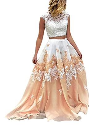 Z Sexy Illusion 2 Piece Prom Dresses Appliques Beaded Formal Evening Party Dresses for