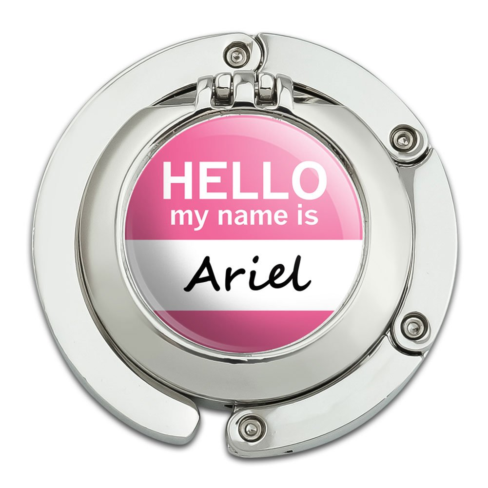 Ariel Hello My Name Is Foldable Table Bag Purse Caddy Handbag Hanger Holder Hook with Folding Compact Mirror