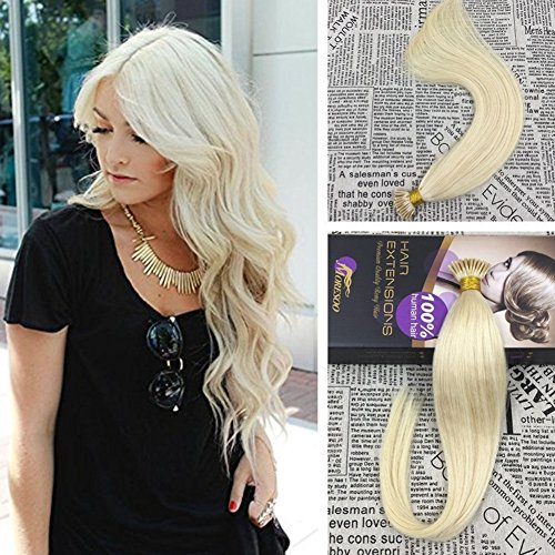 Moresoo 16 inch 1g/s 50strands/pack Pre Bonded I Tip Human Hair Extensions Blonde Color 60 Keratin Tipped Human Hair Extensions Fusion Tip Hair Extensions