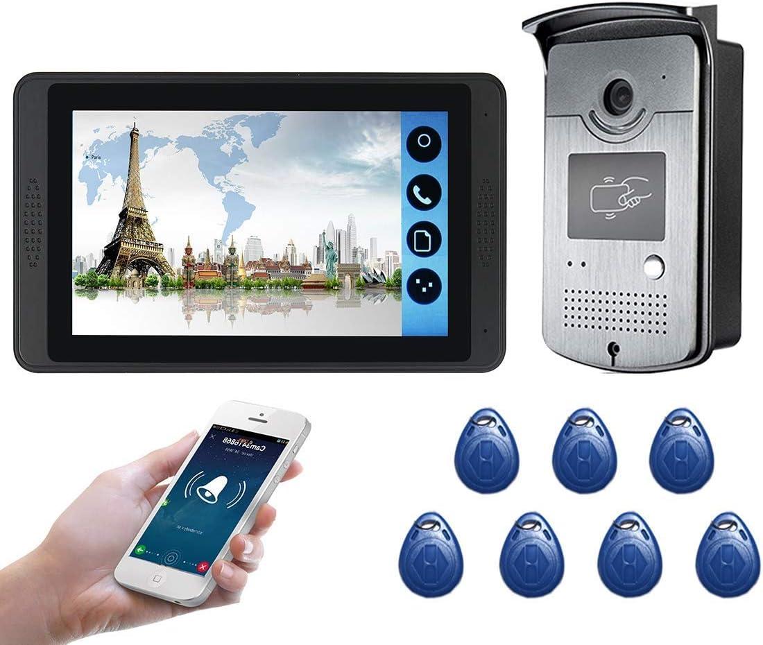 Support Unlock kyman 7 Pouces Moniteur vid/éo Sonnette Interphone vid/éo sans Fil avec Ouverture de Porte c/âble visiophone cam/éra HD