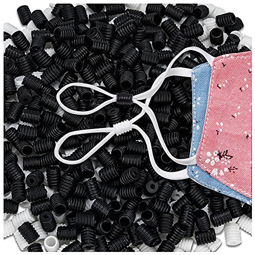 400Pcs Cord Locks for Face Masks - Adjuster Silicone Cord Stopper No Slip Earloop Toggles for 1/4, 1/8Inch Elastic, Buckle Adjustment Accessories for Adult Children
