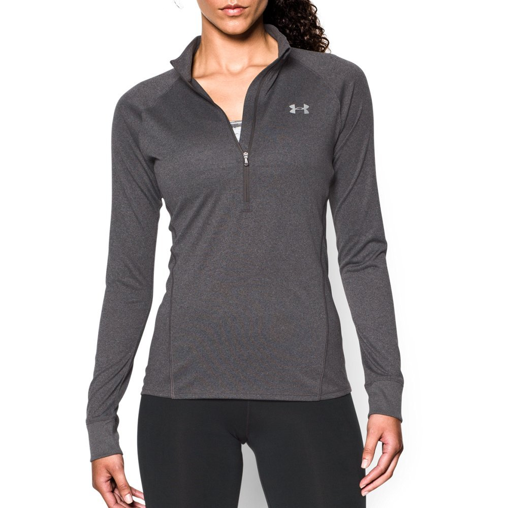 Under Armour Women's Tech 1/2 Zip, Carbon Heather/Metallic Silver, Large