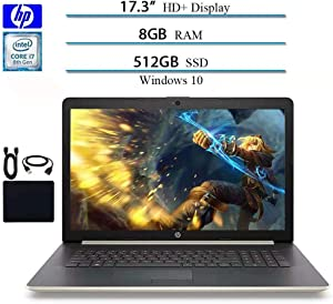 2019 HP 17.3 in HD+ Laptop Business Notebook Computer, Intel Quad Core i7-8550U Up to 4.0GHz, 8GB RAM, 512GB SSD, Sliver, Card Reader, DVD-RW, WiFi, GbE LAN, Webcam, Windows 10 W/Accessories