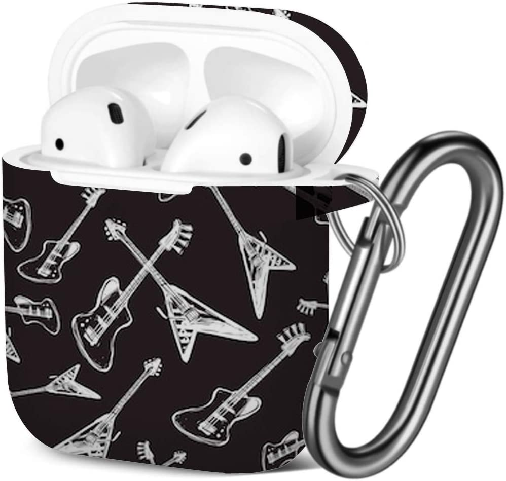 [ Compatible with AirPods 2 and 1 ] Shockproof Soft TPU Gel Case Cover with Keychain Carabiner for Apple AirPods (Rock Roll Electric)