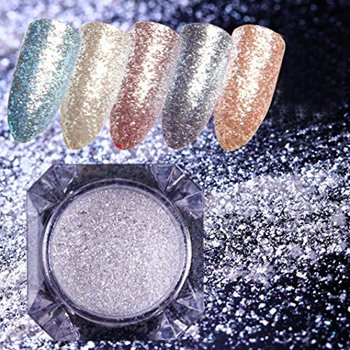 - Hunputa Nail art Powder ,Glitter Aluminum Flakes Magic Mirror Effect Powders Nail Diamond Pearl Powder (2pcs)
