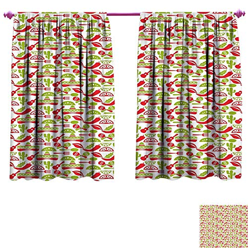 WinfreyDecor Fiesta Thermal Insulating Blackout Curtain Mexican Civilization Elements Hats Guitars Food Musical Instruments Blackout Draperies for Bedroom W55 x L72 Vermilion Apple Green White