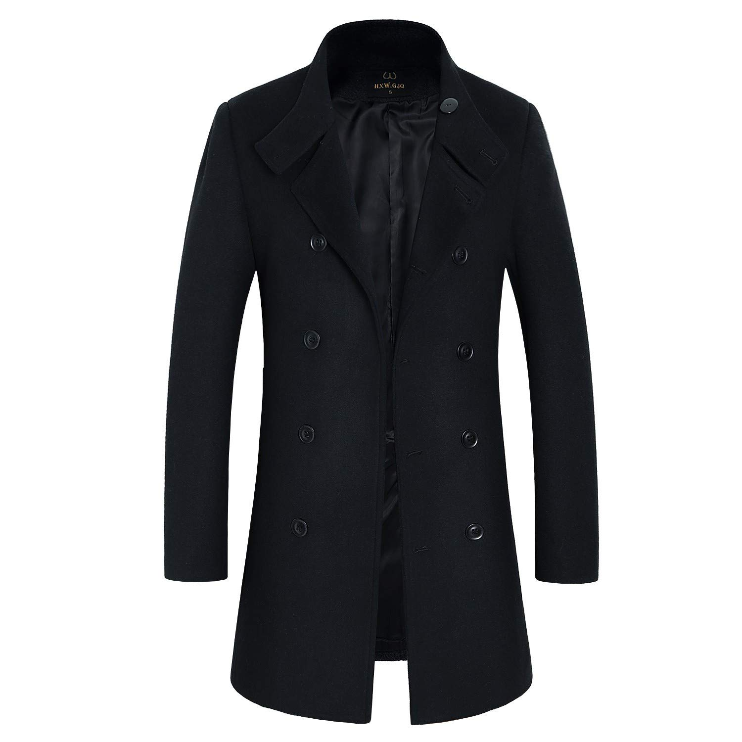 57579a70779 Men s Premium Wool Blend Double Breasted Long Pea Coat at Amazon Men s  Clothing store