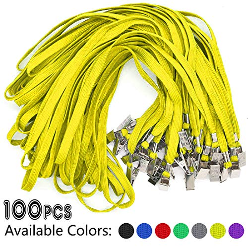 Yellow Lanyards 100 Pack Bulk Badge Lanyards with Clip Neck Flat Lanyard with Badge Lanyard Bulldog Clip ()