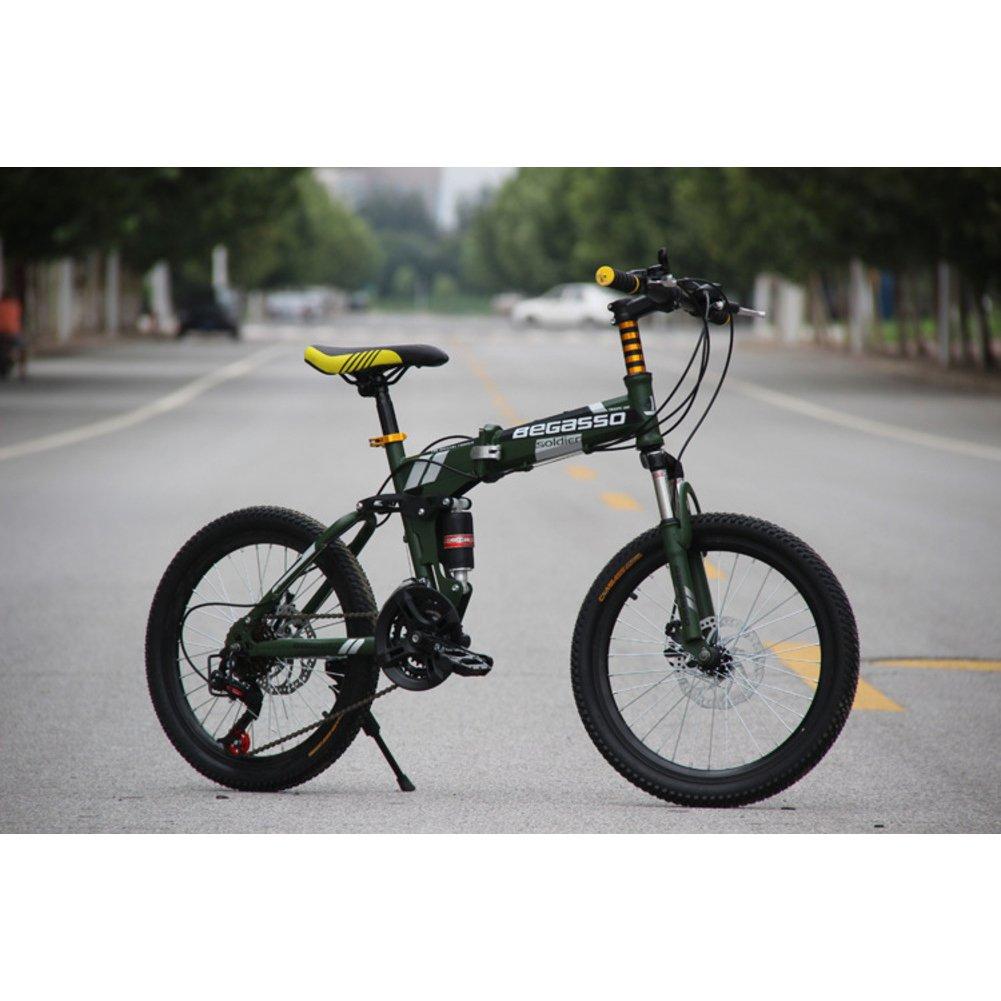 学生折りたたみ自転車, 子供用折りたたみ自転車 男女 21 速度 型ディスク ブレーキ 大人 折りたたみ自転車 Mtb 折り畳み自転車 B07DG7Z39G 20inch|緑 緑 20inch