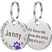 Didog Stainless Steel Custom Engraved Pet ID Tags,Round Crystal Rhinestones Tags with Pretty Paw Print,Double-Side Laser…