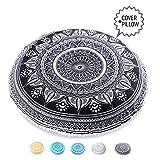 Mandala Life ART Bohemian Decor Floor Cushion - INSERT INCLUDED - 30'' Round Floor Pillow Pouf - 100% Hand Printed Organic Cotton by (Black Ganesha)