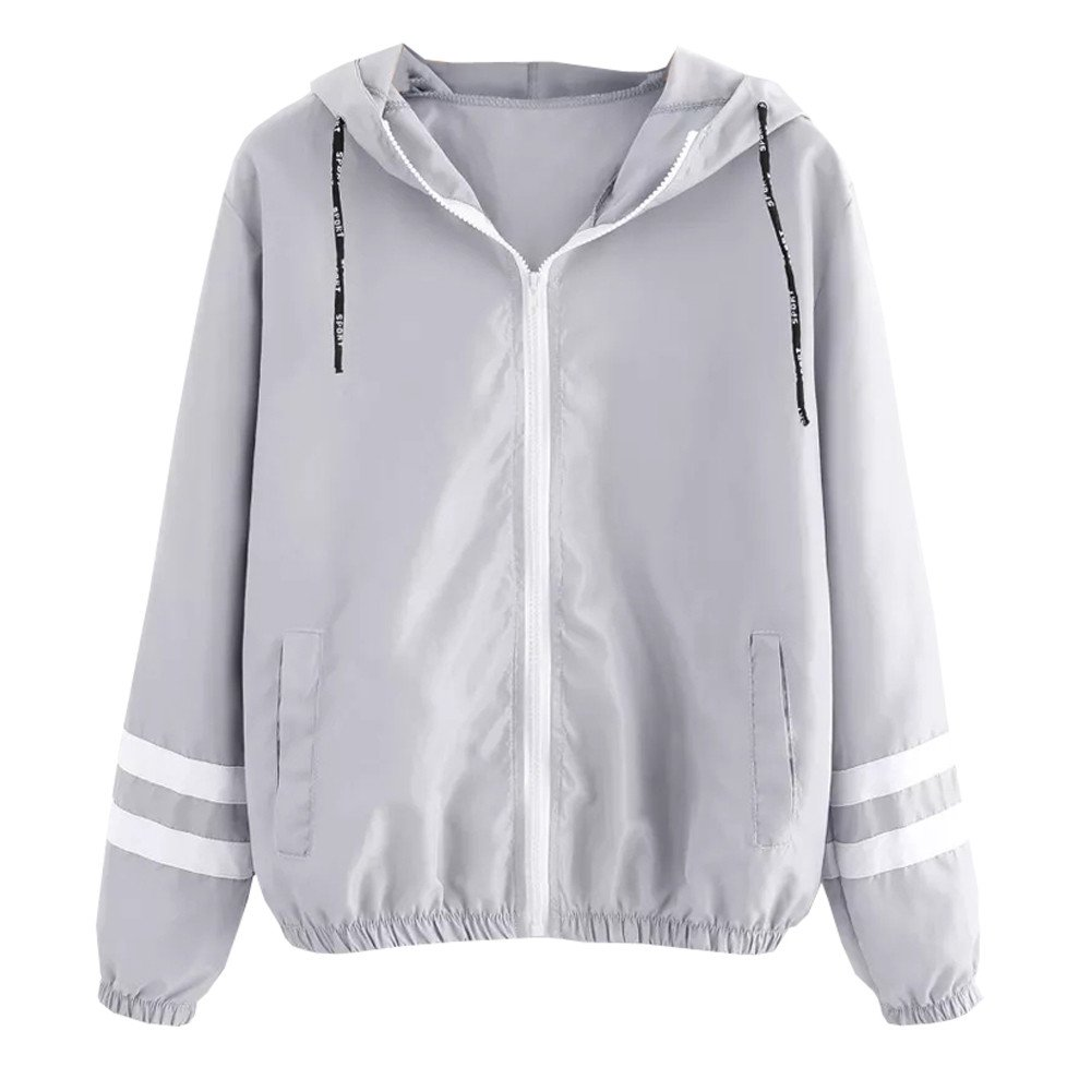 AOJIAN Women Jacket Long Sleeve Outwear Thin Hooded Zipper Pockets Sport Patchwork Coat