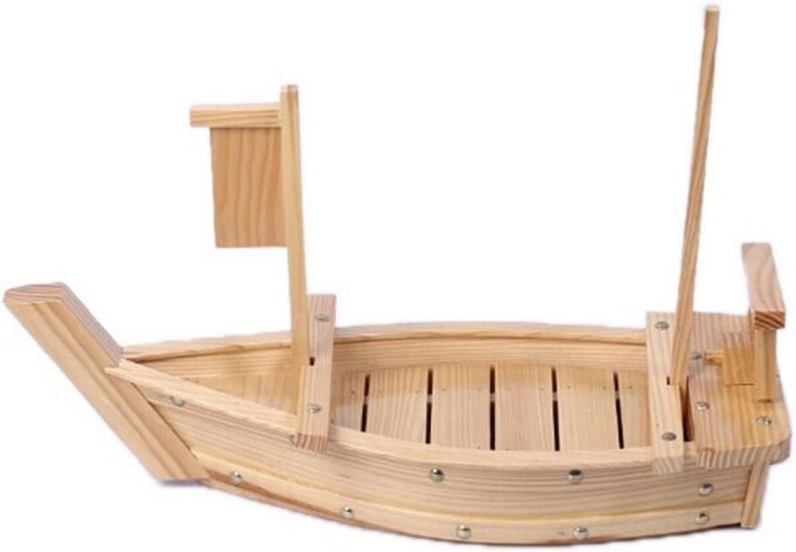 JapanBargain 1583, Large Wooden Sushi Boat Shape Plate Japanese Sushi Sashimi Serving Plate Tray Party Food Platter 65cm for Restaurant or Home Use, 25.5 inch