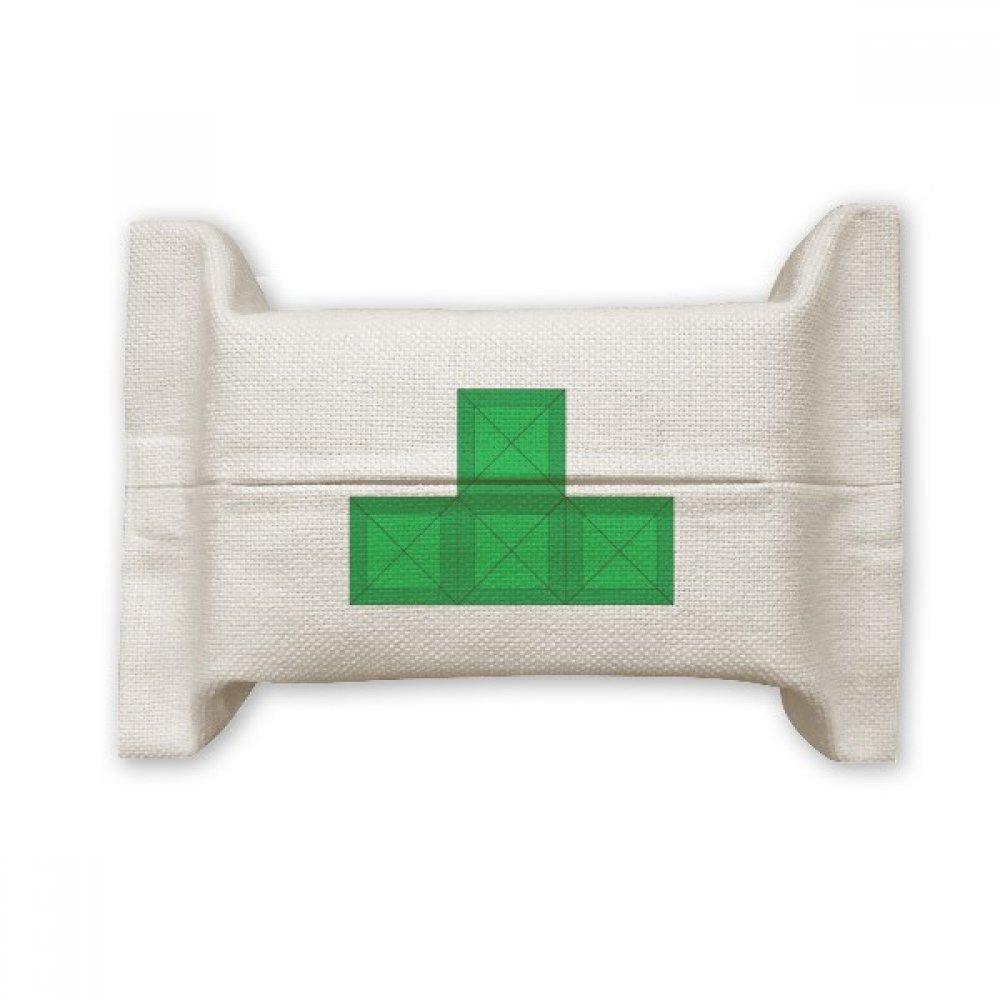 DIYthinker Classic Games Tetris Green Block Cotton Linen Tissue Paper Cover Holder Storage Container Gift