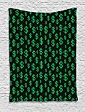 asddcdfdd Money Tapestry, Pixel Art Inspirations in Eighties Style Dollar Sign Banking Business, Wall Hanging for Bedroom Living Room Dorm, 60 W X 80 L Inches, Dark Green Lime Green