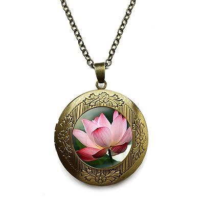 Vintage Bronze Tone Locket Picture Pendant Necklace Summer Art Lotus