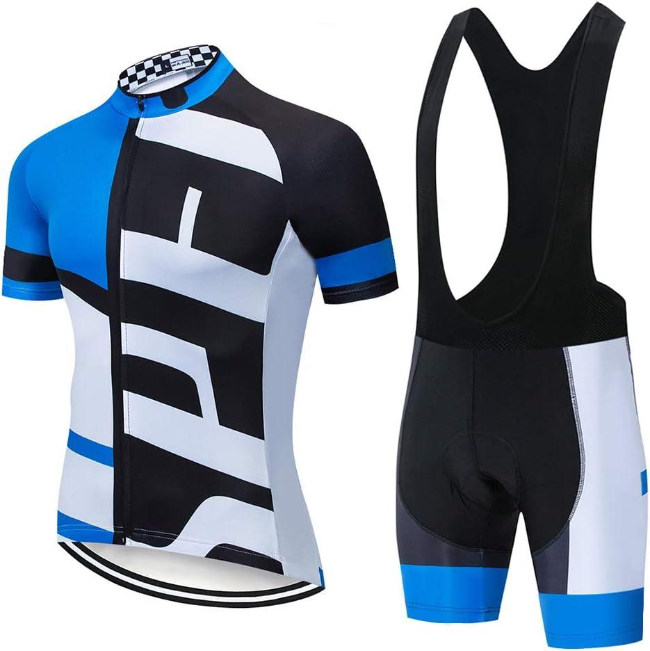 Uomo Professionale Maglia Ciclismo Maniche Corte Pantaloncini Ciclista per MTB,Cerniera Completa Abbigliamento Ciclismo