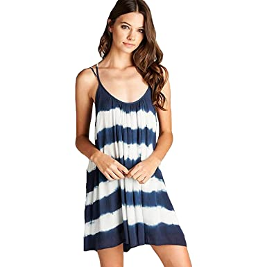 85b8bf84de0 Aakaa Womens Tie Dye Mini Dress Blue & White Tie Dye Medium at ...