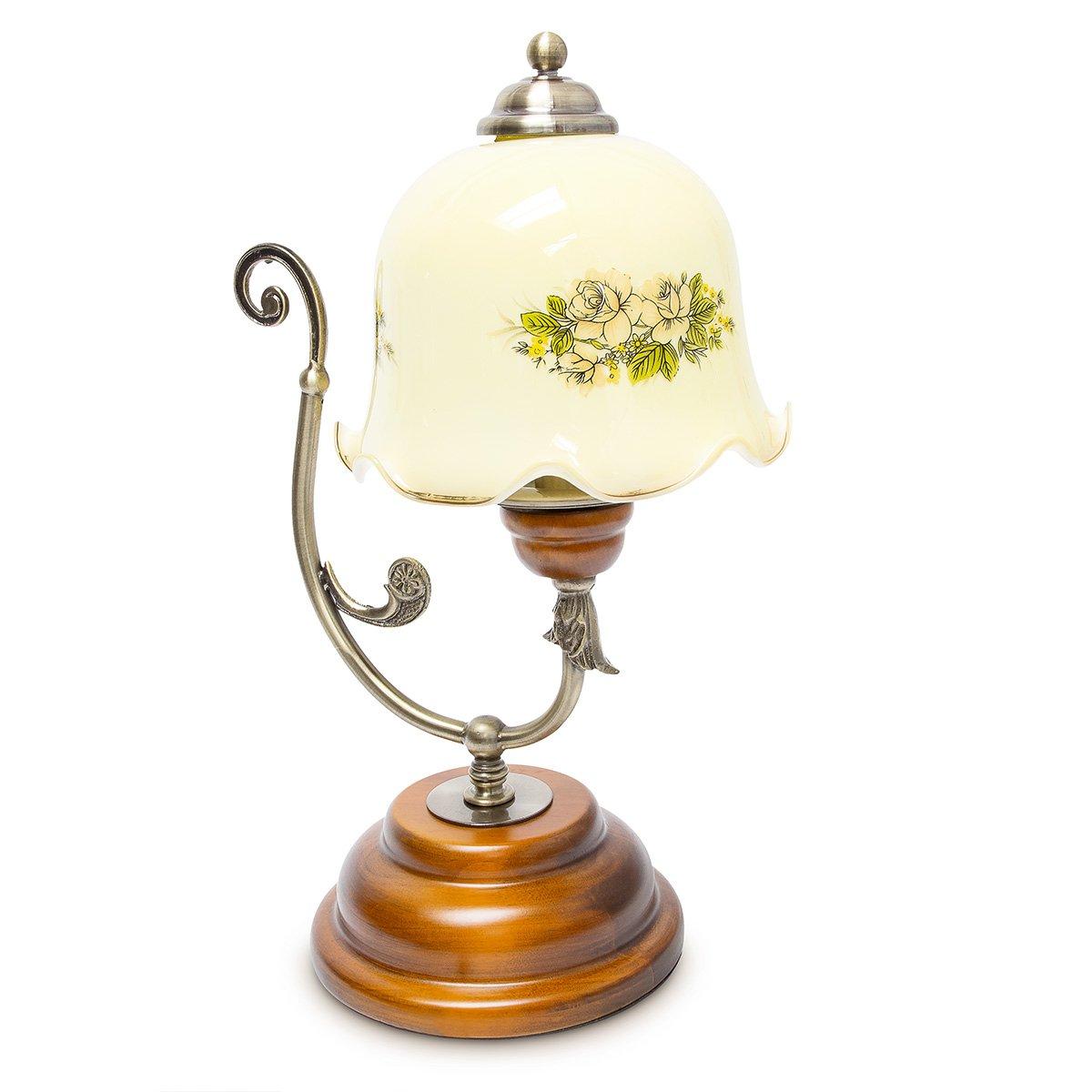 Relaxdays Tischlampe Vintage Shabby Chic Design Holz Metall Glas 10018486