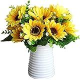 Calcifer 3 Sets(7 Stems/Set)10.63'' Sunflowers Artificial Flowers Bouquet For Home Decoration/Wedding Decor