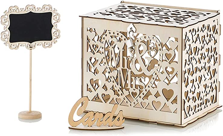 Nuptio Caja para Tarjetas De Boda DIY Caja para Tarjetas De Regalo Porta Tarjetas con Ranura -