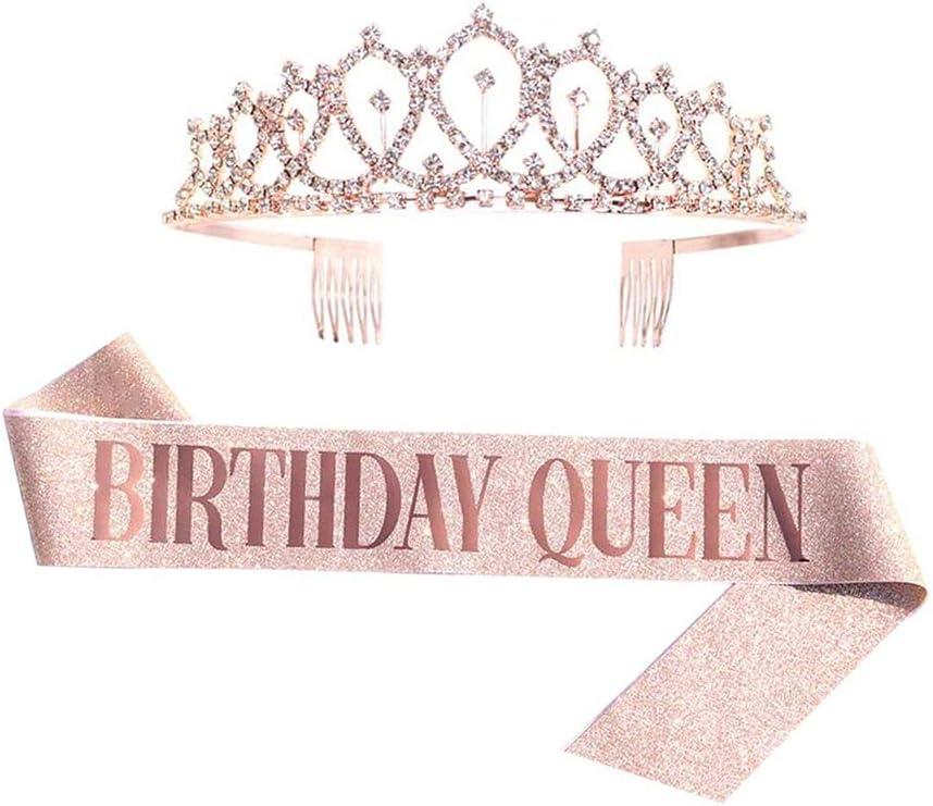 Birthday Queen Sash & Rhinestone Tiara Kit - 16th, 21st, 30th Birthday Gifts Glitter Decoration Sash for Women Birthday Party Supplies (Rose Gold)