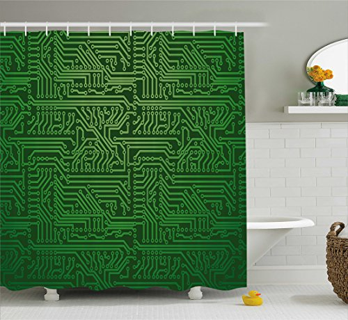 Ambesonne Digital Shower Curtain by, Computer Art Backdrop with Circuit Board Diagram Hardware Wire Illustration, Fabric Bathroom Decor Set with Hooks, 70 Inches, Emerald Fern Green