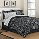 First At Home Live Love Laugh Comforter Set, Queen, Black