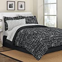 First At Home Live Love Laugh Comforter Set, Full, Black
