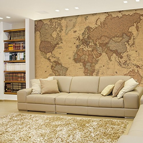Antique Monochrome Vintage Political World Map Wallpaper Wall Mural