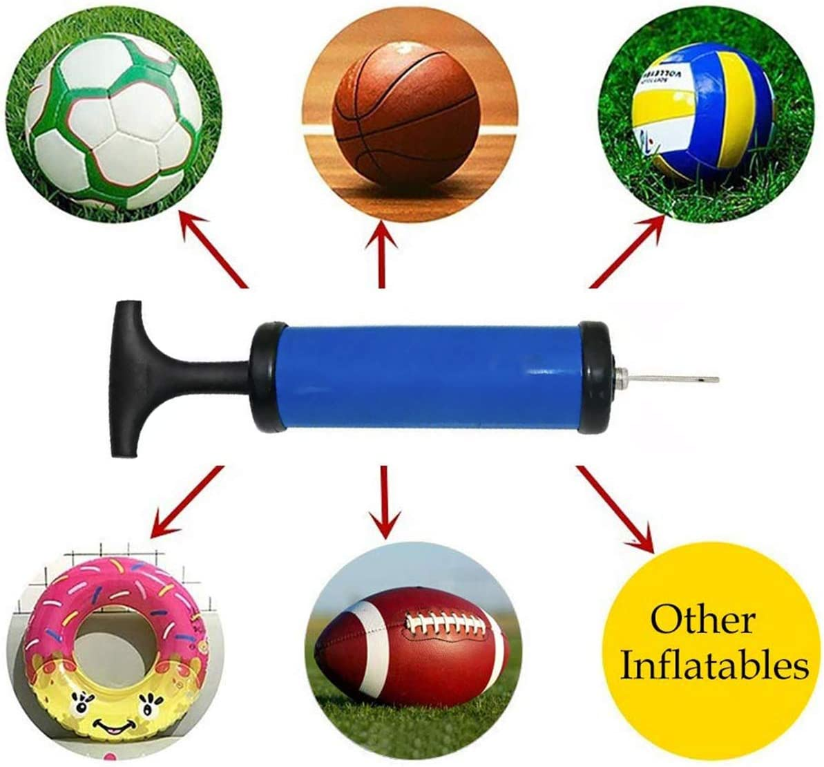 Blue July miracle Ball Pump Soccer Basketball Football Volleyball Water Polo Rugby Exercise Sports Ball Balloon Swim Inflatables Pump