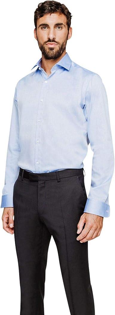 ARROW - Camisa Regular Fit sin Planchado, diseño de microdibujo, Color Azul