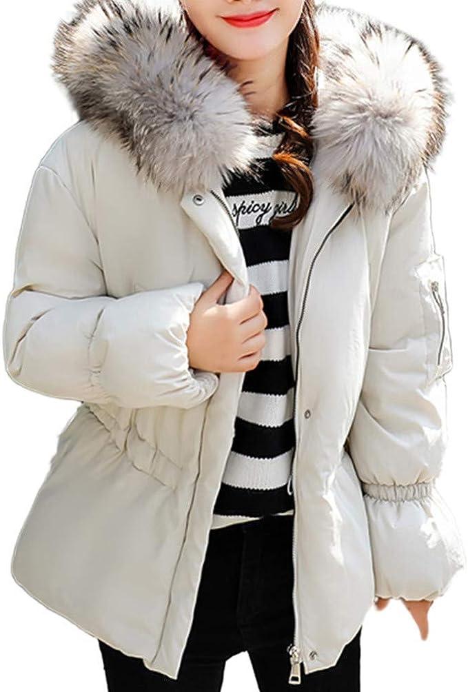 Bealeuy Damen Kurze Pelzkragen Mantel mit Reißverschluss aus