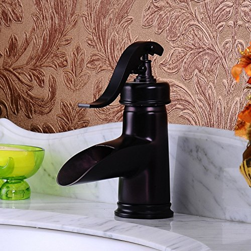 Furesnts European antique copper hot water above counter basin basin wash basin Faucets-Oil Rubbed Bronze Basin Faucet adjustaBle paleo-mixer hot and cold,(Standard G 1/2 universal hose ports)