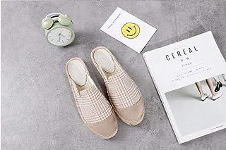 YOPAIYA Espadrilles Plat Loafers Chaussures Beige pour Femmes Confortable Pantoufles Dames Femmes Casual Chaussures Respirant Lin Chanvre Canvas Rayé Treillis