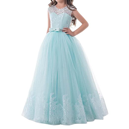 37a3bef4648 Image Unavailable. Image not available for. Color  SHENLINQIJ Tulle Long  Lace Flower Girl Dresses Pale Blue ...