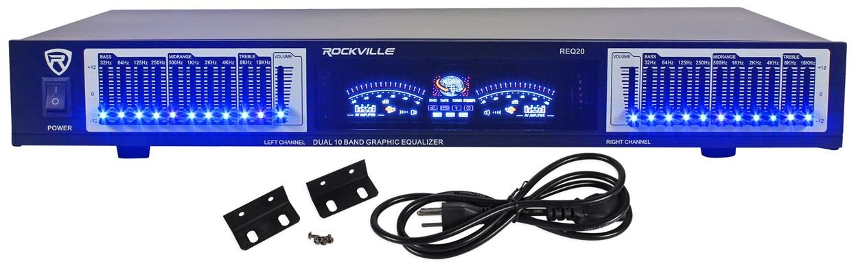Rockville REQ20 19' Rack-Mount Dual 10 Band Professional Graphic Equalizer With Dual VU Meters Level Monitors Audiosavings