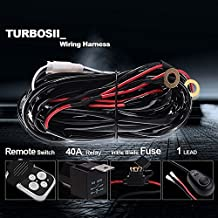 """Turbo 300w LED Light Bar Wiring Harness Kit Fuse 40 Amp Relay ON-OFF-Strobe Remote Control Switch (1Lead) Waterproof IP 67 for Arctic Cat Wildcat Can Am Polaris RZR S 900 1000 and 3"""" to 52"""" Light Bar"""