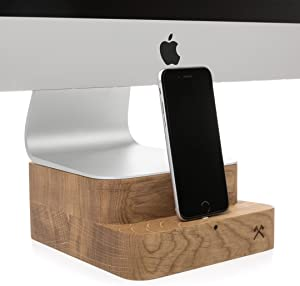 """Woodcessories - iMac Stand + iPhone Dock Compatible with iMac 21,5"""" & iPhone, Made of Real Wood, EcoFoot Dock EDT. (Oak)"""