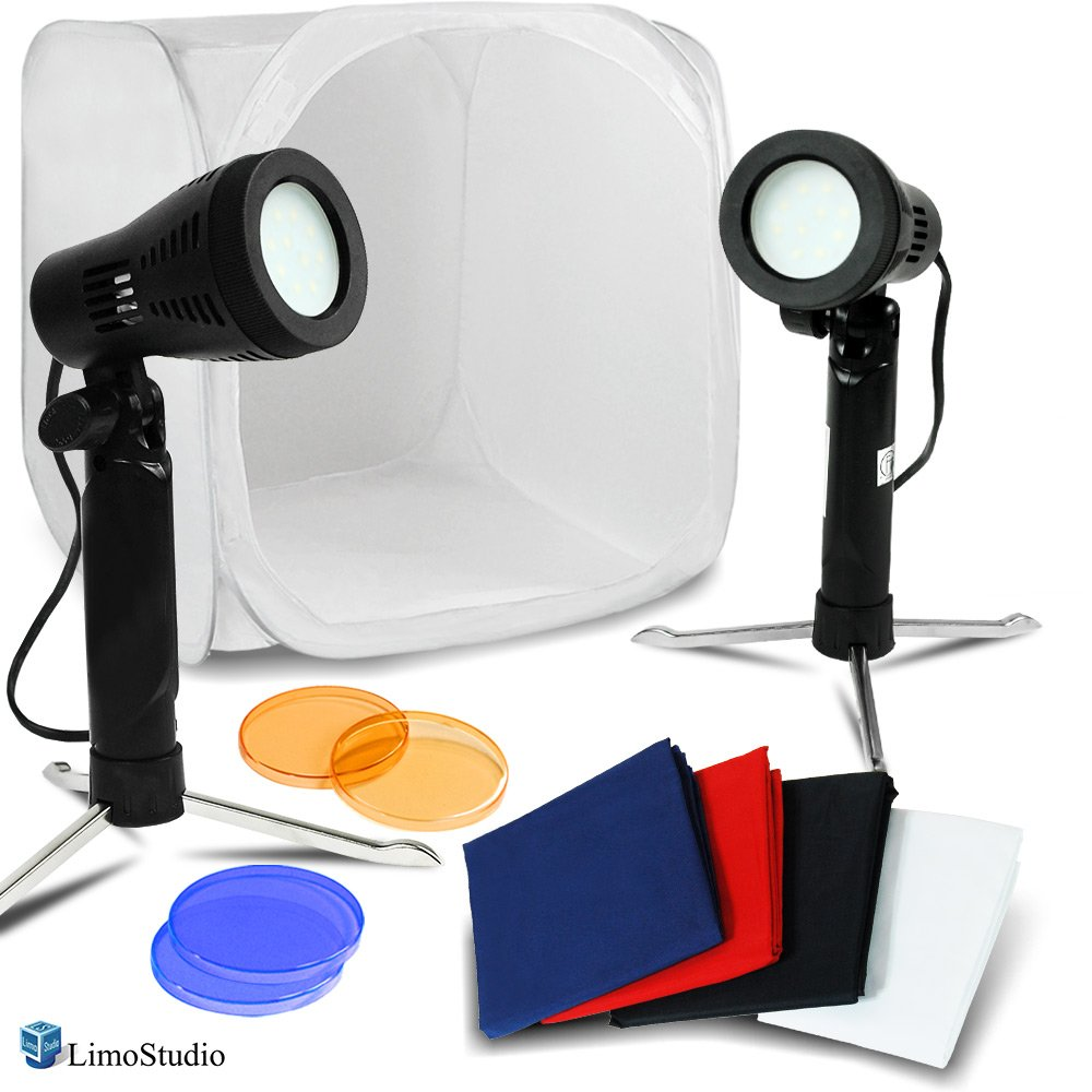 LimoStudio 25'' Photo Shooting Box White Tent with Color Backdrops, 2 Sets of Table Top Mini Light Stand Kit, Ecommerce Product Photo Shoot, Professional Image Creating Studio, AGG2288 by LimoStudio