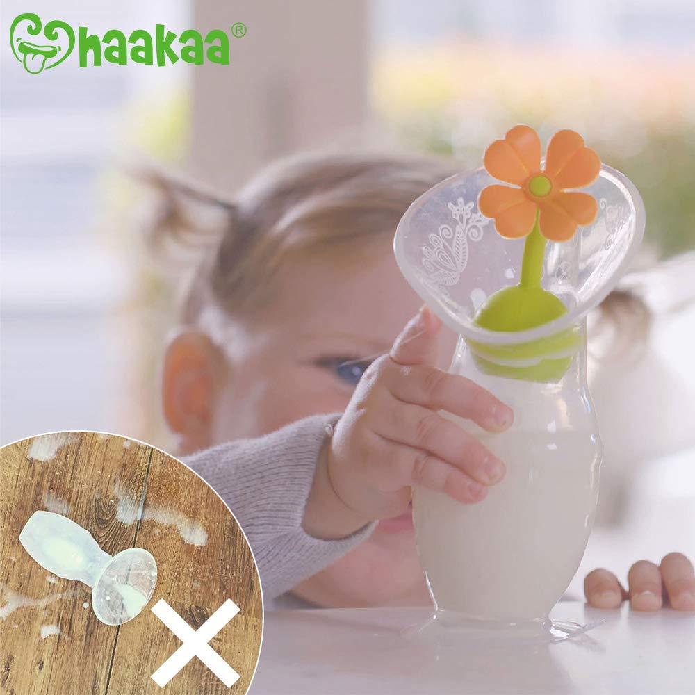 BPA- und Phthalatfrei 150 ml Orange 100/% lebensmittelechtes Silikon Haakaa Silikon-manuelle Milchpumpe mit Saugfu/ß und Blumenstopper