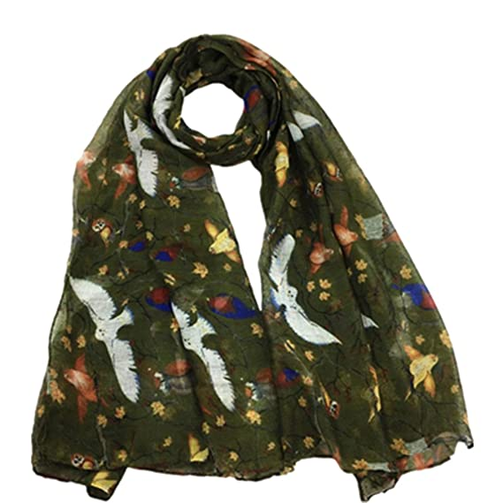 e9d13a169654 HUHU833 Écharpe châle foulards Femmes impression Fleurs et oiseaux longue  écharpe châle Automne Hiver (Kaki